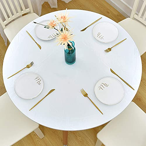 Round Tablecloth, Fitted Round Plastic Vinyl Table Cloths with Flannel Backing and Elastic Edge, Waterproof Table Protector for Outdoor Patio Kitchen and Dining Room (45'-56' Clear Large)