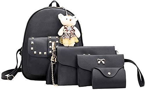 DIAK Damen Rucksack, 1 Sätze Frauen Mädchen Mode Rucksack Handtasche Schultertasche Schuleinkaufstasche Crossbody Frau Geschenke (3PCS),T-schwarz,Einheitsgröße
