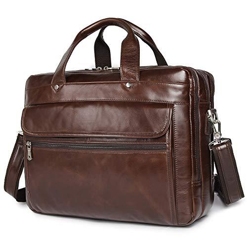 Augus Genuine Leather Mens Briefcase businessTravel Bags 15.6 Inch Laptop Bag YKK Zipper, Coffee