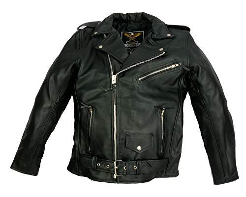 IGUANA CUSTOM CLOTHES Chaqueta Cruzada para Hombre de autentico Cuero de Vaca de Estilo rockero, Punk o Motero con cinturón y Forro, un Estilo clásico Que Nunca Pasa de Moda. (2XL)