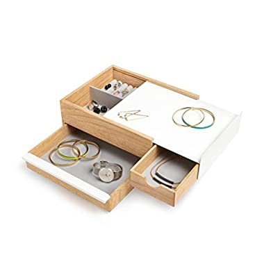 Umbra Stowit Jewelry Box - Modern Keepsake Storage Organizer with Hidden Compartment Drawers for Ring, Bracelet, Watch, Necklace, Earrings, and Accessories