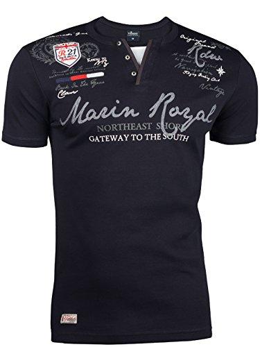 Trisens Herren Sommer Polo 2 IN 1 Hemd T-Shirt Poloshirt Kurzarm Baumwolle, Größe:M, Farbe:2475 Dunkelblau