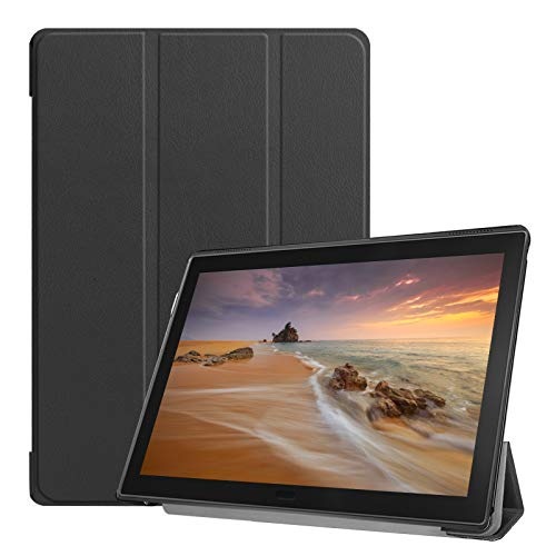 Lobwerk Hülle für Lenovo Tab E10 TB-X104F 10.1 Zoll Smart Cover Etui mit Standfunktion & Auto Sleep/Wake Funktion Schwarz