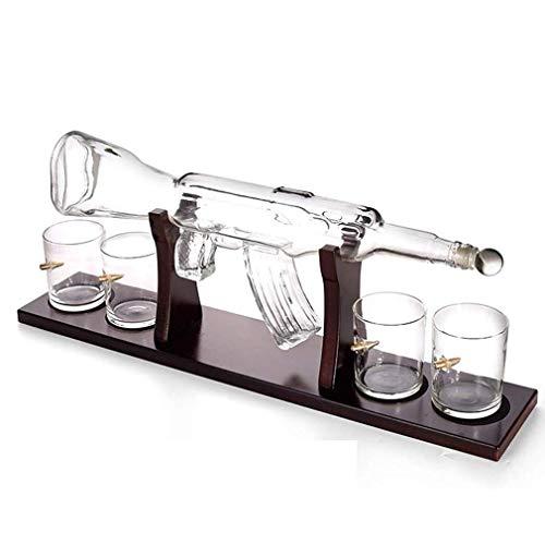 VATRIO Whiskey Decanter Set, Handgemachte AK47 Gun Decanter, Mit Holzständern Und 4 Kugelbecher, Getränkespender Für Wein, Brandy, Bourbon, Scotch Und Schnaps
