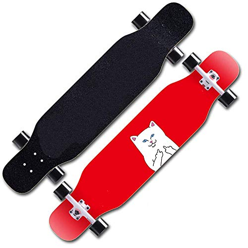 HZTWS Longboard Skateboard Drop Through Cruiser Complete Board, high Speed ABEC 11 Ball Bearings, Drop-Through Freeride Skating Cruiser Boards for Beginners and Pro, it is Also The Best Choice