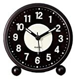 TSYGHP Reloj de Alarma Easy Set Súper silencioso Reloj de Alarma Reloj Decorativo con Funciones de luz para la Oficina de Dormitorio Despertador (Color : Black)