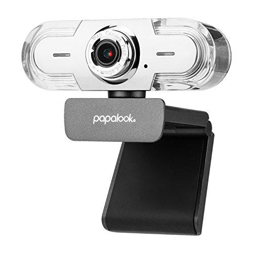 Webcam 1080P HD, PAPALOOK PA452 PRO Web Cam PC avec Microphone Anti-bruit, Plug et Play, USB Caméra pour Skype, Youtube, Twitter, Compabilité Avancée pour MAC, Windows XP / 7 / 8 / 10
