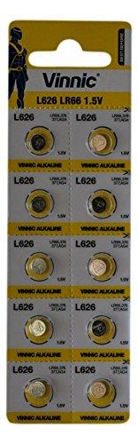 Vinnic Alkaline-Batterie zur Verwendung in Uhren, Taschenrechner, Spielzeug, Lasern, Armbanduhren, Thermometern und vielen anderen elektronischen Geräten, 10 Stück, AG4 L626 626 SR 377 37