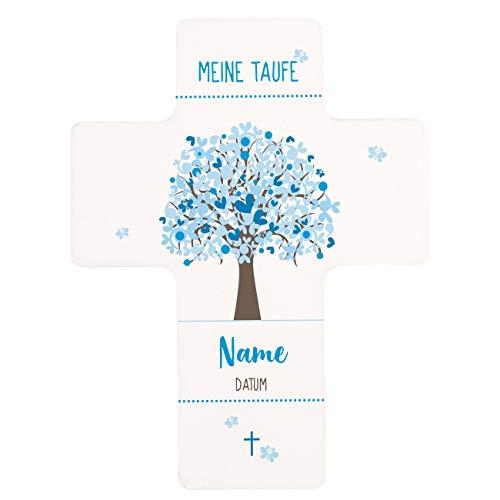 Striefchen® Kreuz zur Taufe mit dem Namen des Kindes und dem Taufdatum Bedruckt Lebensbaum Blau