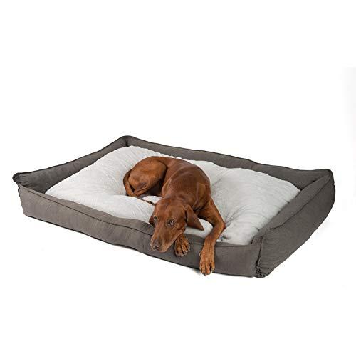 JAMAXX Premium Hundebett in edler Leinen-Optik/Orthopädisch Memory Visco Schaumstoff/Waschbar Bezug Abnehmbar, mit Wendekissen, Hochwertiger Hunde-Korb Hundekörbchen S-XL (120x90 (L), Grey)