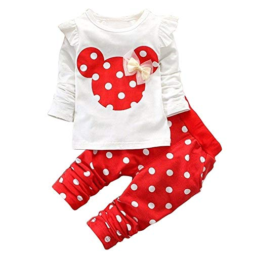 JIAJIA YL Baby Mädchen Kleidung Set Top Langarm Shirt + Pants Bekleidungsset Outfits (Red, 0-6M)