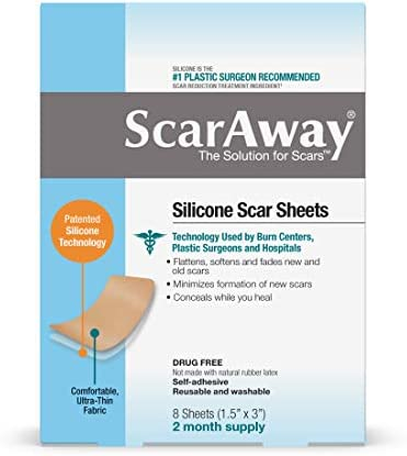 ScarAway Silicone Scar Sheets 4 Reusable Sheets 1 5 x 3 2 Month Supply product image