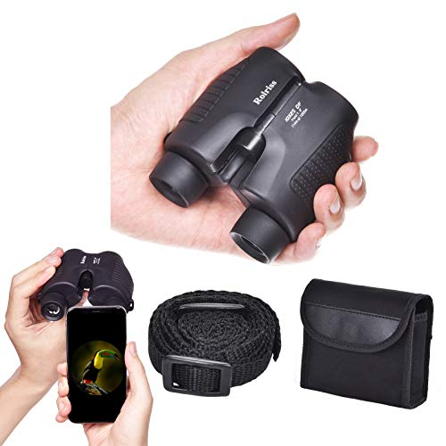 Rolriss 10x25 Compact Binoculars for Adults, Binoculars with Low Light Night Vision, Foldable Binoculars for Hunting, Bird Watching, Traveling, Concerts and Outdoor Sports