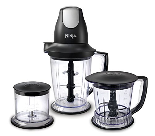 Ninja 🏆4-Pack Premium Blender/Food Processor with 450-Watt Base, 48oz Pitcher, 16oz Chopper Bowl, and 40oz Processor Bowl for Shakes, Smoothies, and Meal Prep (QB1004)