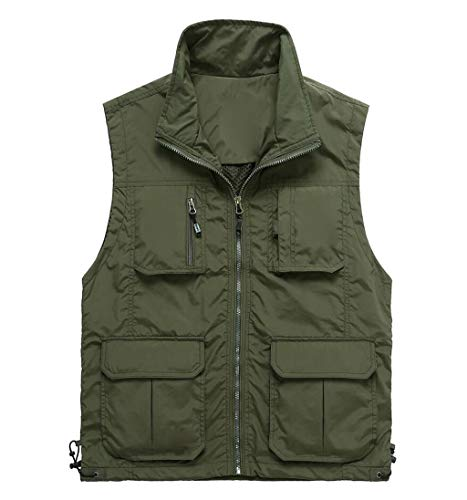 QKDSA heren katoenen gilets vest, outdoor multi-tassen mouwloos bovenstuk, vissen wandelen Large groen