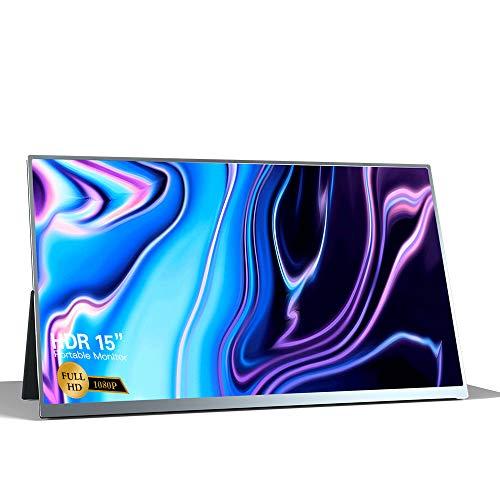 Fesjoy T16A - Monitor portátil de 15 pulgadas con panel IPS HD 1080P, ampliación de pantalla, compatible con conmutador, PS3, PS4, PC/portátil, enchufe europeo