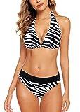 Aidotop Sexy Bikini Donna Push-up Reggiseno Imbottito Spiaggia Bikini Set Beachwear Due Pezzi Mare e Piscina Sportivi (Zebra,M