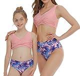 Conjunto de Bikini para Madre e Hija Traje de Baño 2 Piezas Top Corto Sin Mangas con Hombros Descubiertos+Bragas de Cintura Alta con Estampado Floral Playa Mar