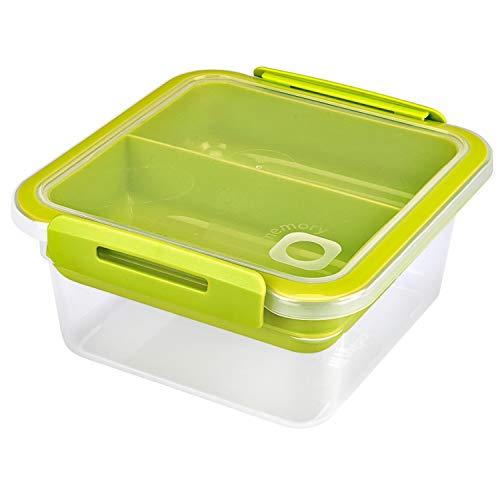 Rotho Memory B3 Lunchbox 1l mit Deckel und herausnehmbarem Einsatz, Kunststoff (PP) BPA-frei, transparent, 1l (16,0 x 15,0 x 7,7 cm)