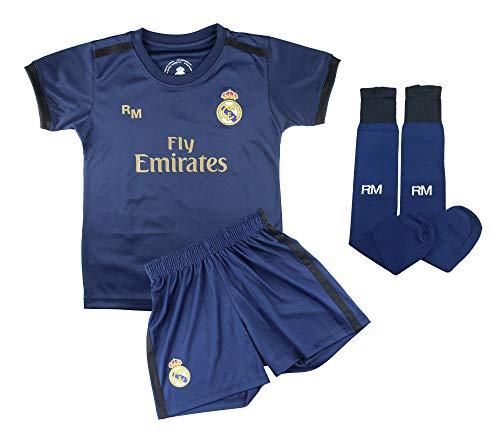 Champion's City Conjunto Complet Infantil Real Madrid Réplica Oficial Licenciado de la Segunda Equipación Temporada 2019-2020 Dorsal Liso