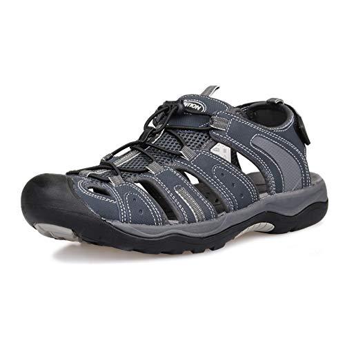 GRITION Mens Hiking Sandals Closed Toe Walking Sandals Hook and Loop Mesh & PU Upper Adjustable Heel Strap for Sports and Outdoors Trekking Summer Beach (46 EU/ 29.87cm, Blau)
