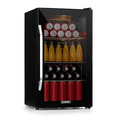 Klarstein Beersafe Onyx - Getränkekühlschrank, 5 Kühlstufen, 42 dB, flexible Metallböden, LED-Licht, Kühlschrank für Flaschen, Glastür mit schwarzem Rahmen, 80 L, F, Onyx