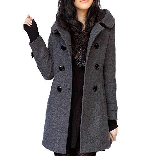 U/A Kapuzenmantel aus Kaschmir-Baumwolle, für Herbst und Winter, lässig, schmale Wollmischung, langer Mantel Gr. XL, grau