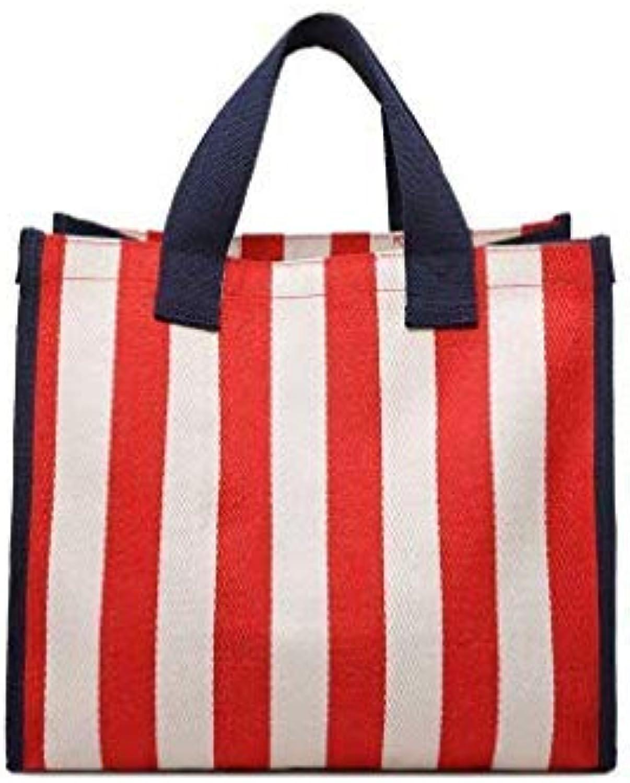 Bloomerang New Casual Women Large Capacity Striped Canvas Shoulder Bag Shopping Bag Handbag Summer Beach Casual Tote Feminina SQ1193 color Red