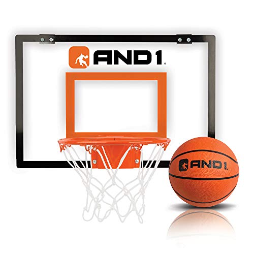 "AND1 Over The Door Mini Hoop: - 18""x12"" Easy to Install Portable Basketball Hoop with Steel Rim, Includes 5"" Mini Basketball, Indoor Game Set for Children and Adults- Clear"