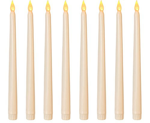 Lily's Home Battery Operated Flameless LED Taper Candles, for Weddings, Candlelight Vigils, Hanukkah Menorahs, or Christmas Wreaths, Standard Size, Ivory (11' Tall, Set of 8)