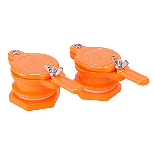Hovico Honey Gate Valve for Bucket, 2 Pack Honey Extractor Tap for Honey Tank, Bee Hive Tool, Beekeeper Tool (Orange)