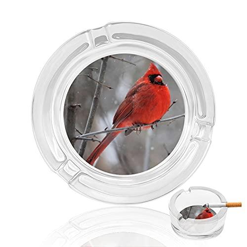 Cenicero de cristal, invernadero rojo pájaro hogar cenicero interior exterior jardín cenicero...