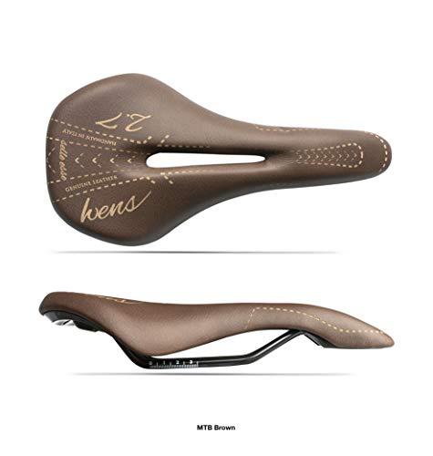 Sillín para bicicleta de montaña o trekking unisex, modelo WENS 2.7, piel auténtica y gel, para bicicleta urbana, fabricado a mano en Italia 2020, color marrón