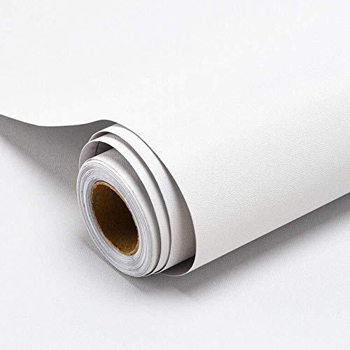 Decoroom 40cm × 3m Papier Peint Peel and Stick Contact Paper Papier Auto-adhésif et Amovible Solide Facile à Mettre en Place Un Film de Vinyle (Blanc)
