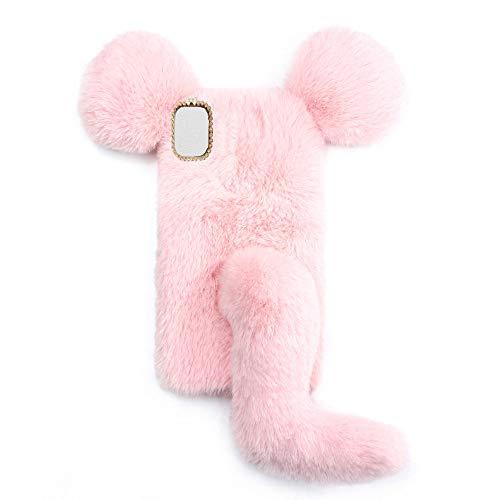 YHY Linda Funda De Teléfono con Forma De Ratón para Xiaomi Redmi K40 Pro 5G Funda Silicona TPU Felpa Romántica Creativa De Moda Rosado