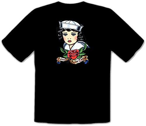 Motiv Matrose Sailor Rockabilly Tattoo Girl Oldschool Flash Maglietta T-Shirt - 417 (L)