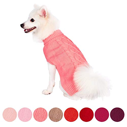 Blueberry Pet Classic Cable Knit Rosy Pink Dog Sweater, Back Length 10
