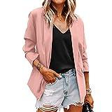 BemeyourBBs Chaqueta de entrenamiento formal para mujer, manga larga, color sólido, con bolsillos, para oficina, informal, holgada, rosa, 48