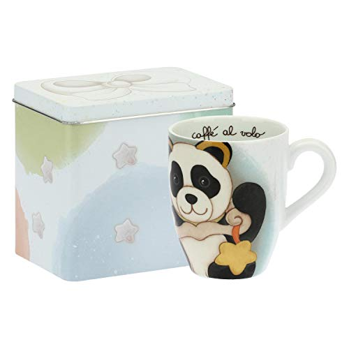 THUN ® - Mug Panda Libra con Scatola in Latta per tè, caffè, tisana - Porcellana - 300 ml - Ø 8,5 cm
