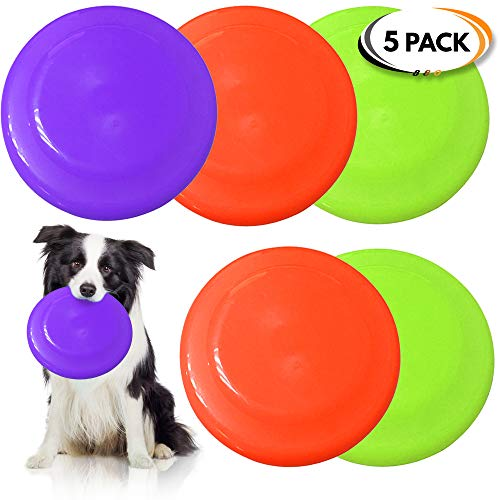 5 Frisbees De Perro, Juguetes para Perros - Colores Vibrantes - Diseño Aerodinámico para lanzamientos sin esfuerzo - Durable y de Alta Calidad para Adiestramiento de Perros, Tiro, Captura y Juego.
