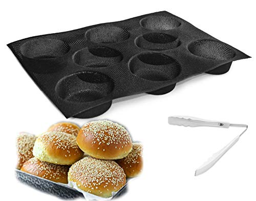 Silicone Hamburger Bread Forms Silicone hamburger buns Perforated Bakery Molds Pan Roll Non Stick Baking Sheets+Food Tongs,Bread Buns Mold 8 Cavities Black Bread Maker Molds Pans Whoopie Pie Pans