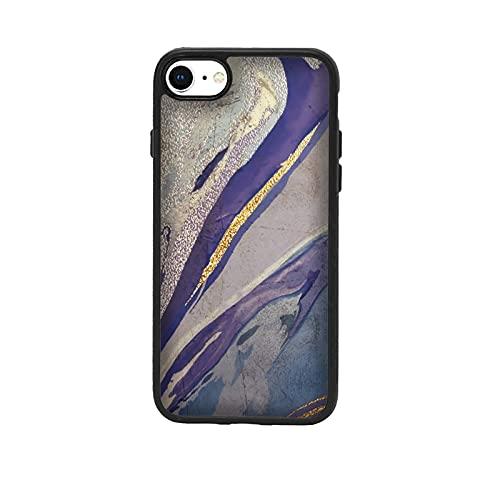 Funda Carcasa compatible con Apple iPhone 7 Diseño de efecto de mármol líquido. Barro Azul Dorado Morado / Vuelos de aluminio con goma en los lados. / TPU antideslizante anti-scratch resistente a l