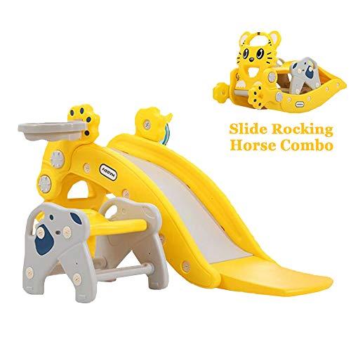 Mhxzkhl Kinder Rutsche Schaukelpferd Kombination Kinder Spielzeug Indoor Outdoor Rutsche Garten Spielplatz, Geeignet für 1-6 Jahre Alte Baby,Yellow
