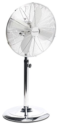 Bestron staande ventilator met zwenkfunctie in retro-design, hoogte: 127 cm, Ø 45 cm, 50 W chroom