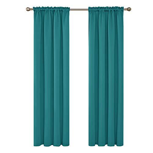cortinas salon 2 piezas turquesa