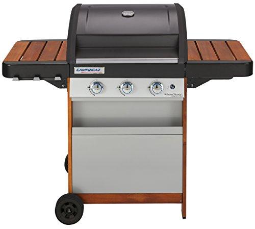 Campingaz 3 Series Woody L Grill Barbecue a Gas con 3 Bruciatore, 9.6 kW di Potenza, Sistema InstaClean EasyCleaning, Griglia e Piastra in Acciaio, 2 Tavoli a Lato, Nero/Marrone, 125 x 66 x 142 cm