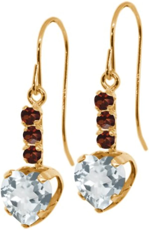 1.58 Ct Heart Shape Sky bluee Aquamarine Red Garnet 14K Yellow gold Earrings