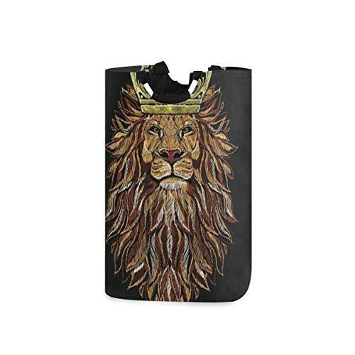 COFEIYISI Wäschesammler Wäschekorb Faltbarer Aufbewahrungskorb,Tierschwarzer 3D-König des Löwen mit langem Haar-Kronendruck,Wäschesack - Wäschekörbe - Laundry Baskets