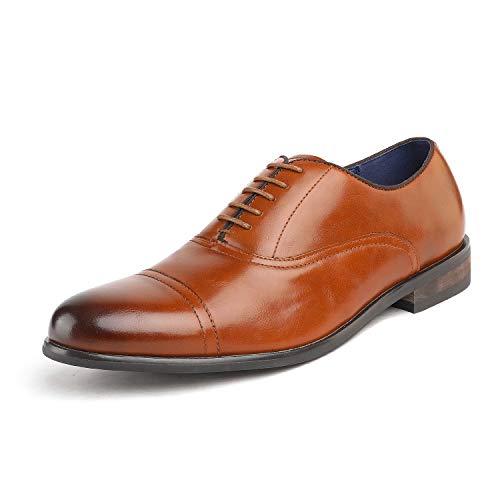 Bruno Marc Florence_6 Zapatos de Cap Toe Oxfords Formal Clásicos para Hombre Camello 42.5 EU/9.5 US