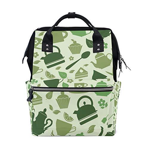 Groene Theepot Patroon Luiertas Rugzak voor Moeder Grote Unisex luiertassen Baby Care Reizen Rugzak Outdoor School Laptop Tas